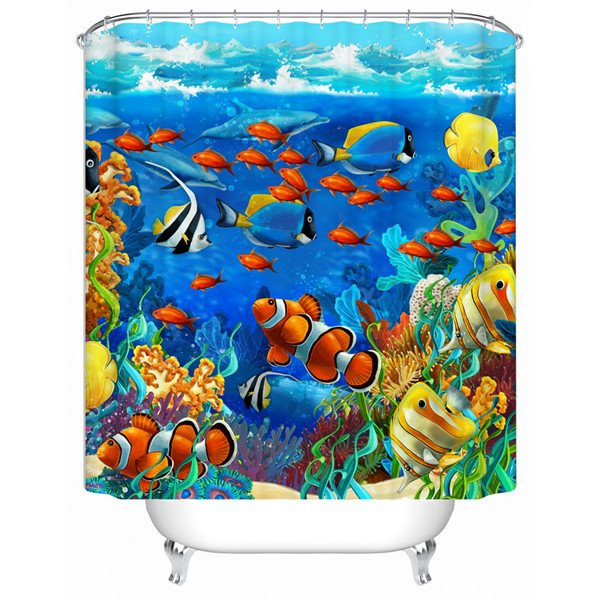 Attractive Vivid 3D Sea World Pattern Shower Curtain