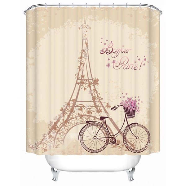 Dreamlike Eiffel Tower and Bike 3D Shower Curtain