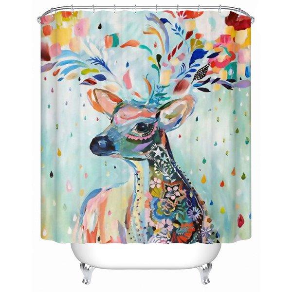 Unique Colorful Flower Deer 3D Shower Curtain