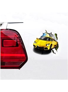 3D Super Cool Yellow Car Shape Car Stickers