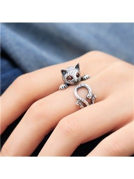 Fashion and Cute Nice Quality Silver 925 and Crystal Kitten Pattern Ring