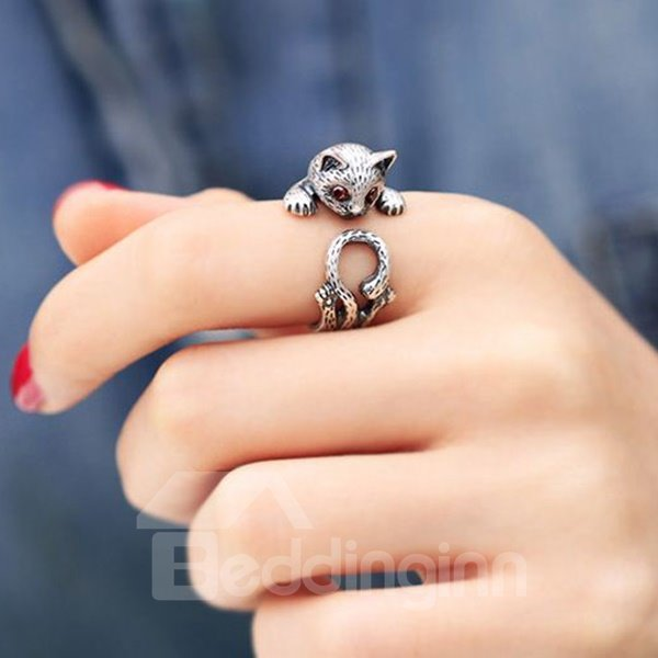 Pretty Kitty Nice Quality Cute Silver 990 Gift for Women Girls Ring