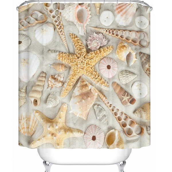 Unique Vivid 3D Beach Scenery Perfect Waterproof Shower Curtain
