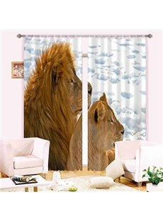 Amazing 3D Lions Energy Saving Curtain