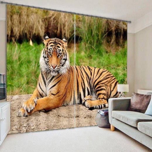 3D Vivid Ferocious Tiger Printed Thick Polyester Cotton 2 Panels Blackout Creative Curtain