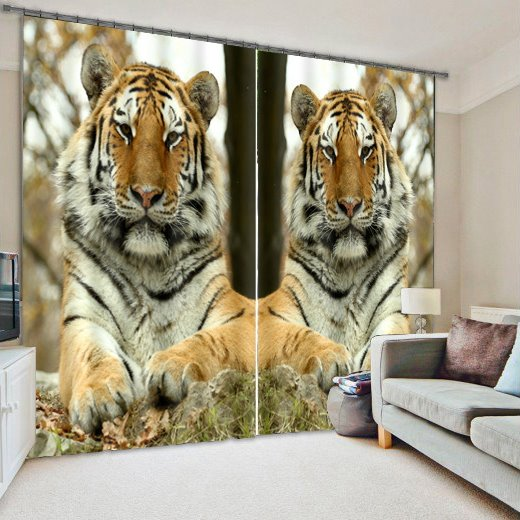 3D Lovely Double Tigers Printed Animal Scenery Decorative and Blackout Custom Curtain