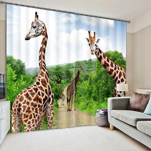 3D Giraffes Printed Animal Style Decoration and Blackout Curtain Polyester Room Curtain