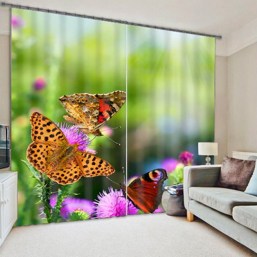 3D Beautiful Butterflies and Printed Thick Polyester 2 Panels Light Blocking Curtain