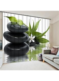 Beautiful Flower and Stone Tower Polyester 3D Curtain
