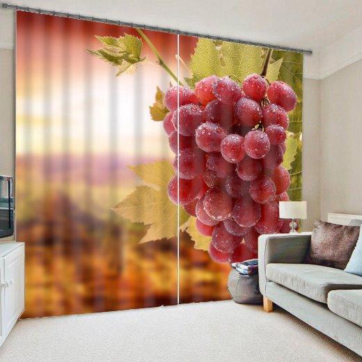 Vivid 3D Grapes Polyester Light Blocking Curtain