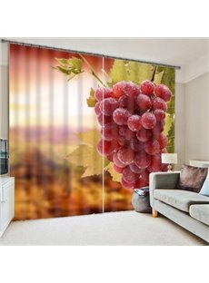 Vivid 3D Grapes Polyester Light Blocking Curtain