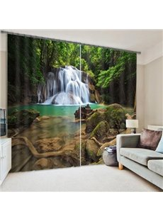 Wonderful Waterfall in the Deep Forest Polyester 3D Curtain