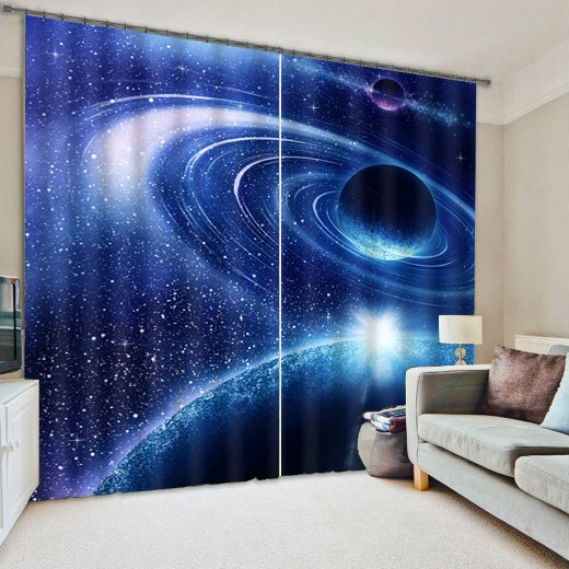 3D Galaxy and Planets Printed Polyester Wonderful Scenery Custom Curtain for Living Room