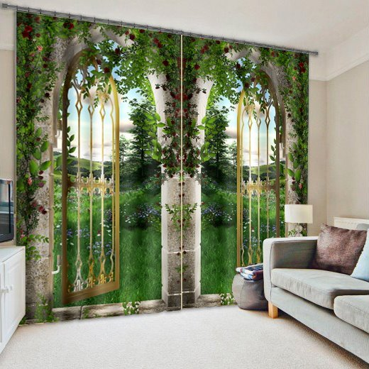 3d Arched Doors With Flowers And Grasses Printed Natural