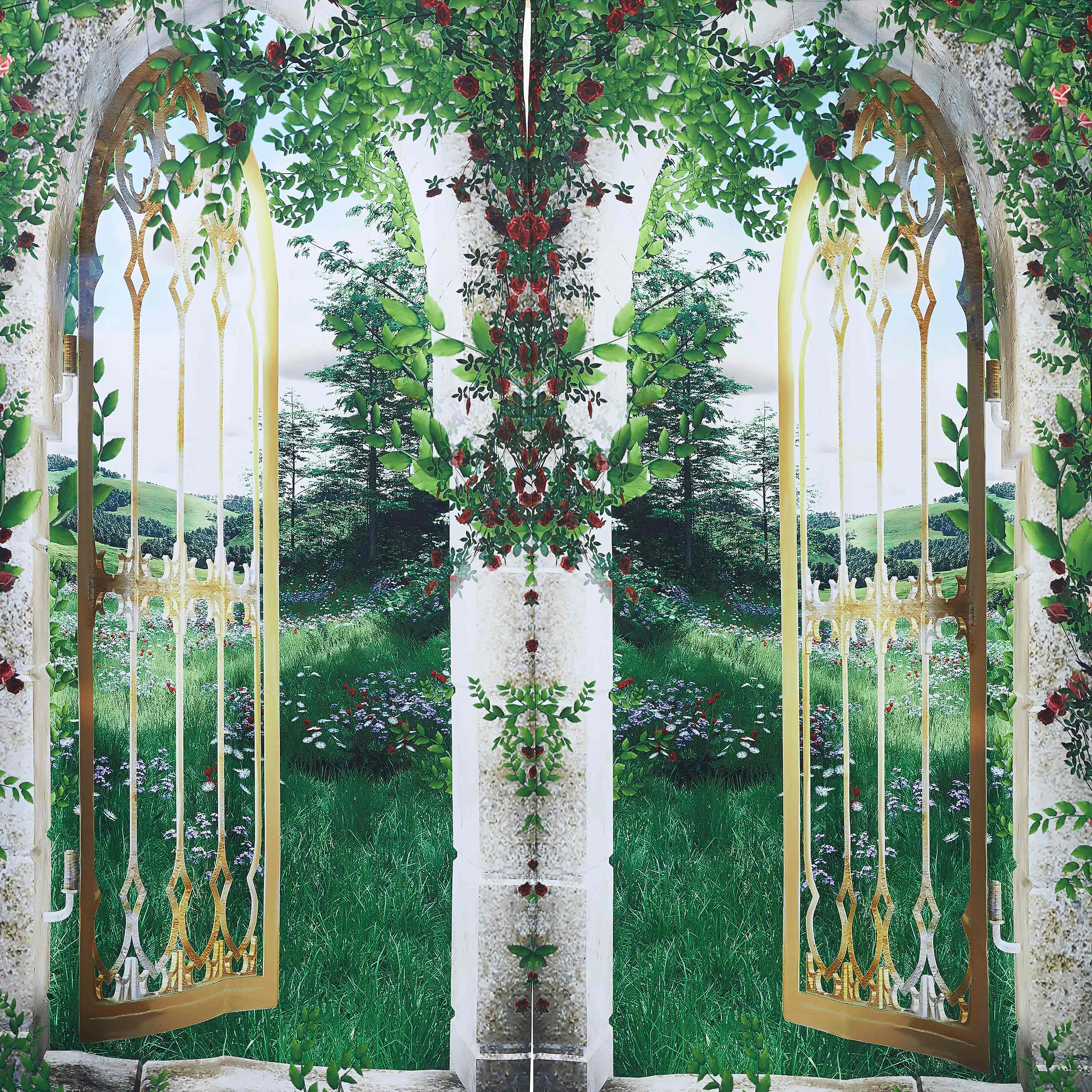 3D Arched Doors with Flowers and Grasses Printed Natural Scenery Custom Blackout Curtain