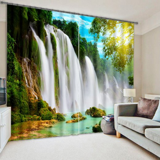 3D Turbulent Waterfall and Green Trees Printed Nature Scenery Decoration Custom Curtain