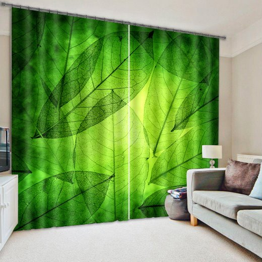 Refreshing Green Leaves Printed Custom Living Room and Bedroom 3D Curtain
