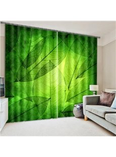 Refreshing Green Leaves Print Blackout 3D Curtain