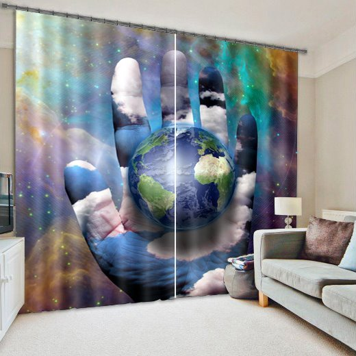 Unique and Creative Design Vast Galaxy Printing Living Room and Bedroom 3D Blackout Curtain