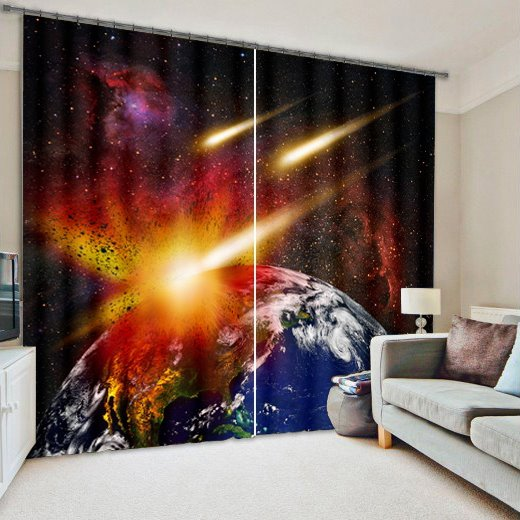 3D Amazing Planets Collision 2 Panels Living Room Custom Curtain