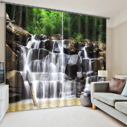 3D Spectacular Waterfall and Green Trees Natural Scenery Printed Decoration and Blackout Curtain