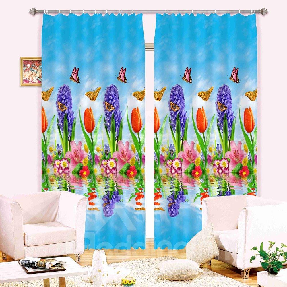Super Lovely Flowers Butterflies 3D Blackout Curtain