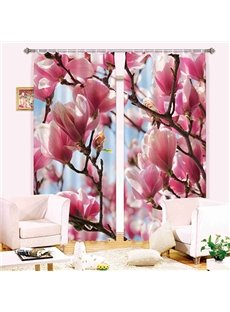 Gorgeous Pink Flower Polyester 3D Blackout Curtain