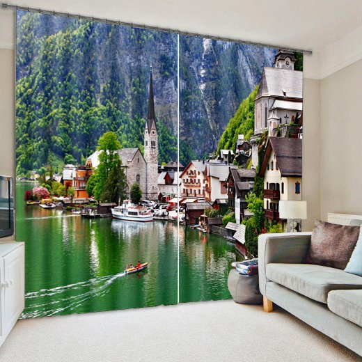 Countryside in Lakeside Printed Energy Saving 3D Blackout and Decorative Curtain