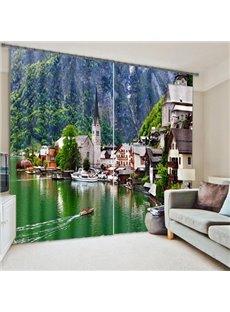 Lakeside Town Print Energy Saving 3D Blackout Curtain