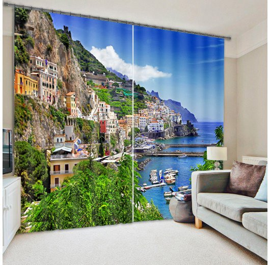 Beautiful Seaside Town Buildings Scenery Printing Custom Living Room 3D Curtain