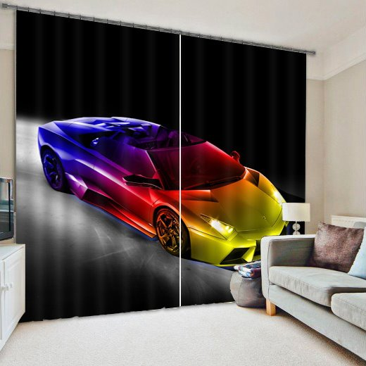 Fashion and Creative Sports Car Printing Living Room and Bedroom 3D Curtain
