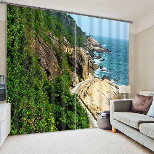 Seaside Scenery Print 3D Blackout Curtain