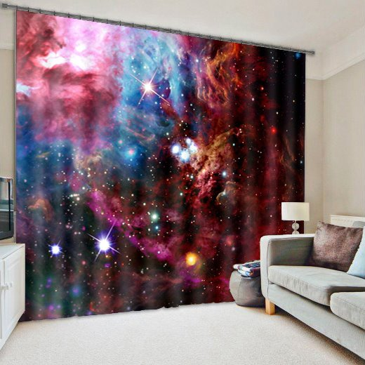 3D Splendid Galaxy Printed Polyester Cotton Blackout 2 Panels Custom Curtain
