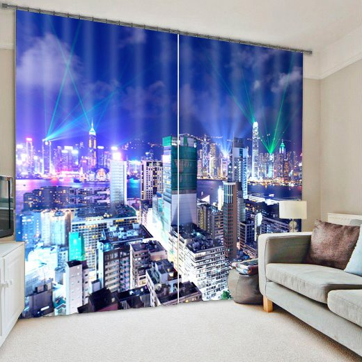 City Night Scenery Print Room Darkening 3D Curtain