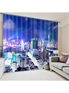 City Night Scenery Print Room Darkening 3D Curtain