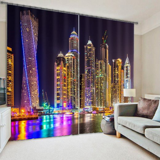 3D Wonderful City Night Scenery Printed Polyester Modern Style Dust-Proof Custom Curtain
