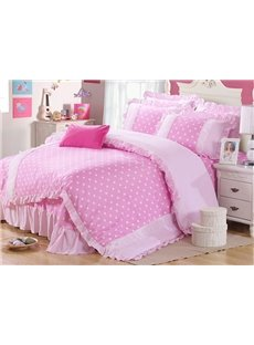 Polka Dots Pattern 4 Piece Organic Cotton Duvet Cover Sets