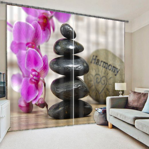 Wonderful Pink Flower Light Blocking 3D Curtain