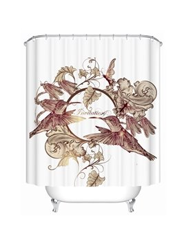 European Style Flowers and Birds Shower Curtain