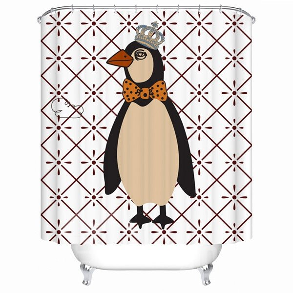 Cute the Penguin King Print Shower Curtain