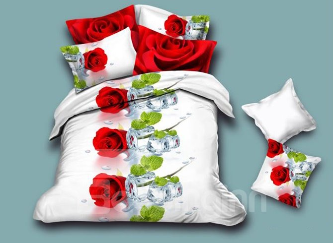 Romantic Rose 4-Piece White Duvet Cover Sets