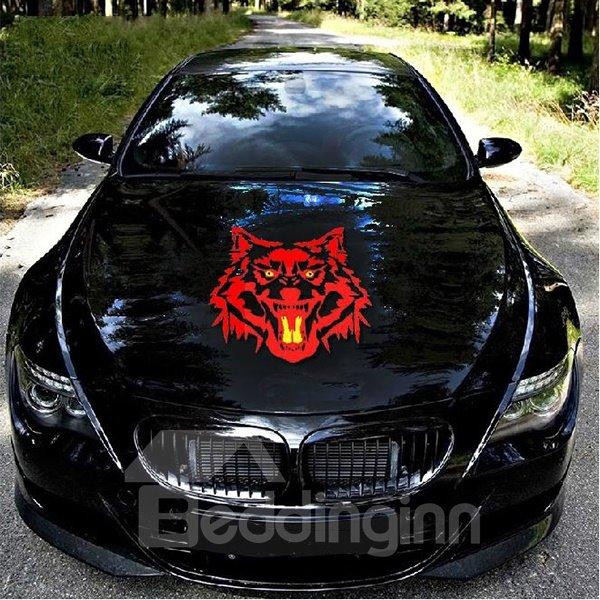 Red Fierce Wolf Head Printing Car Sticker