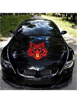 Red Fierce Wolf Head Printing Car Sticker