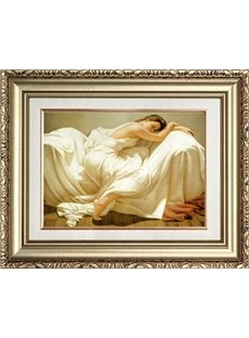 19×24in Sleeping Girl in White Hanging Canvas Waterproof and Eco-friendly Golden Framed Prints
