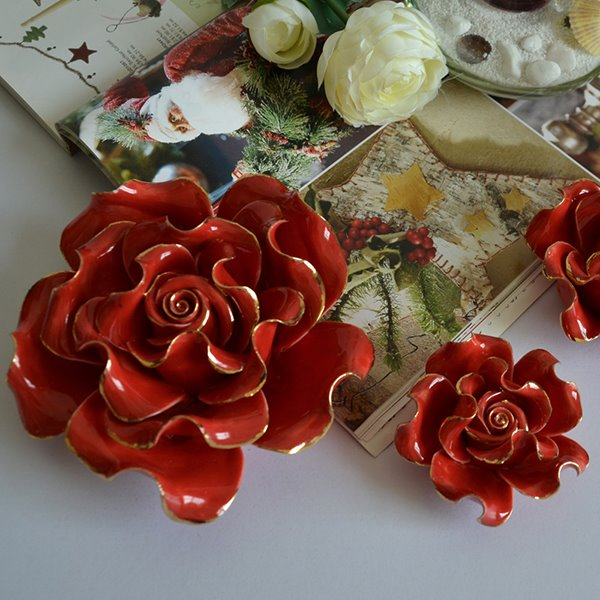 Gorgeous Ceramics 3D Flower Wall Decal 3D Wall Sticker