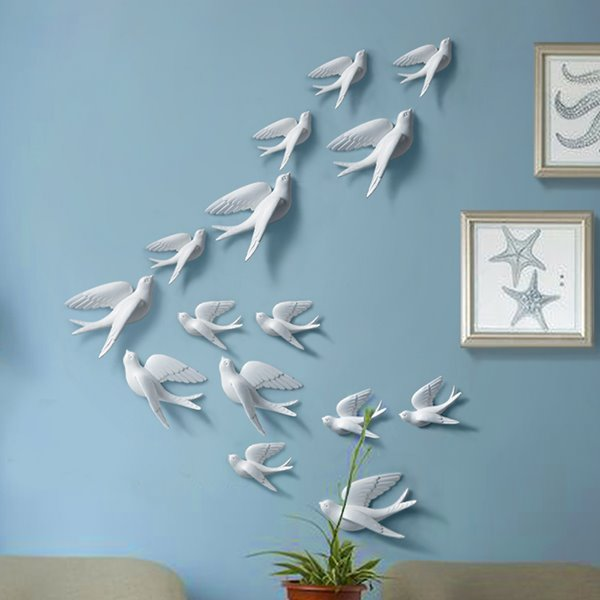 Creative wall decorative 3d birds multi color 3d wall for Bird wall art