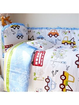 Vivid Cars Print 10-Piece Cotton Baby Crib Bedding Set