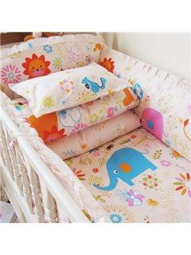 Lovely Animals Print 10-Piece Cotton Baby Crib Bedding Set