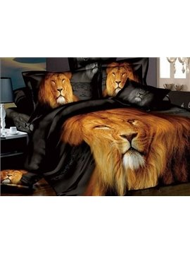 Powerful Lion Printing 4-Piece Cotton Duvet Cover Set