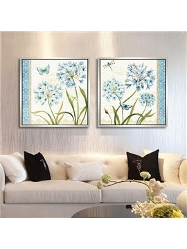Elegant Flower with Butterfly and Dragonfly Framed 2-Panel Wall Art Prints